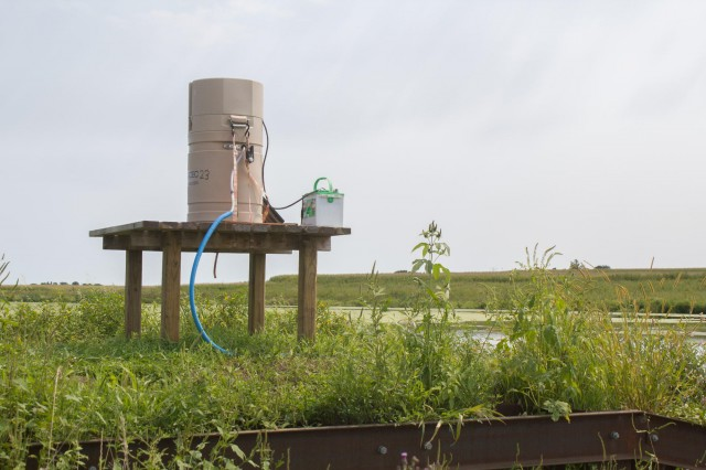 Researchers use this equipment to monitor for nutrients as water leaves a constructed wetland and flows toward streams.
