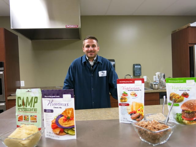 Food scientist Devon Bruntz works to create imitation meat at a Colorado-based food company.