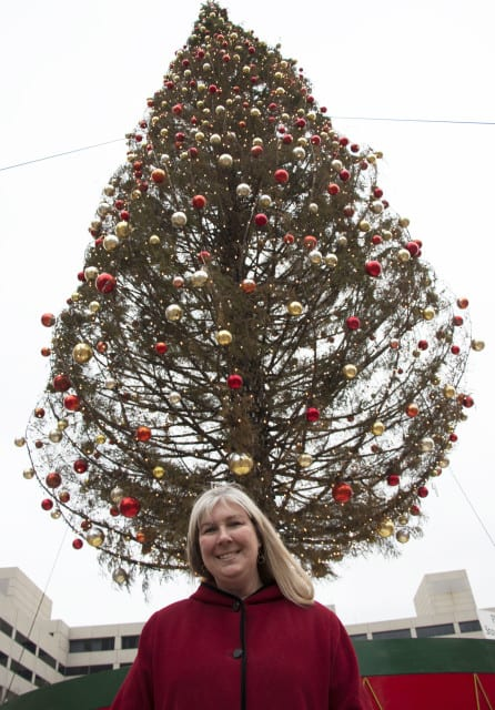 Tina Luckett, the Entertainment Marketing Manager for Crown Center, travels to Oregon every other year to hand pick the Christmas Tree. (Photo: Daniel Boothe   Flatland)