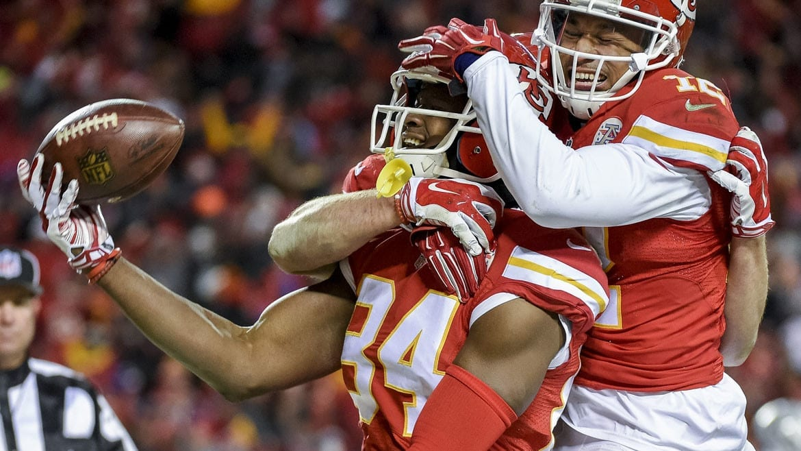 The Kansas City Chiefs had much to celebrate during last weekend's win over the Oakland Raiders. The victory takes us to this weekend's playoff game in Texas. (Photo: Reed Hoffmann | AP)