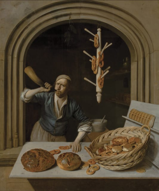 A painting by Job Adriaensz. Berckheyde, Dutch (1630–1693). The Baker, about 1681. Oil on canvas
