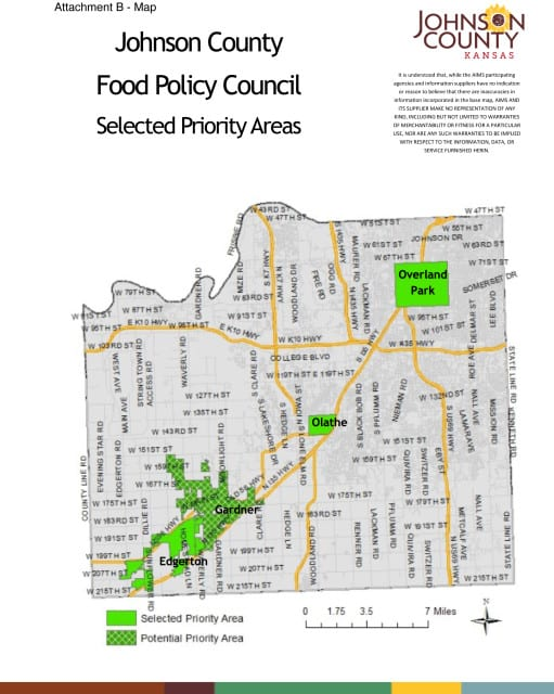 map of johnson county with selected priority areas for food council