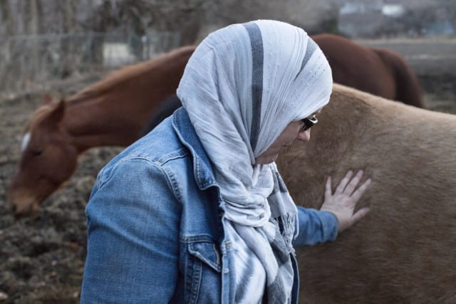 A woman in a headscarf with a horse