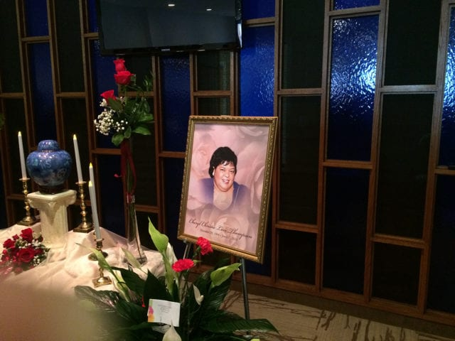 Photo of Cheryl Thompson at her funeral