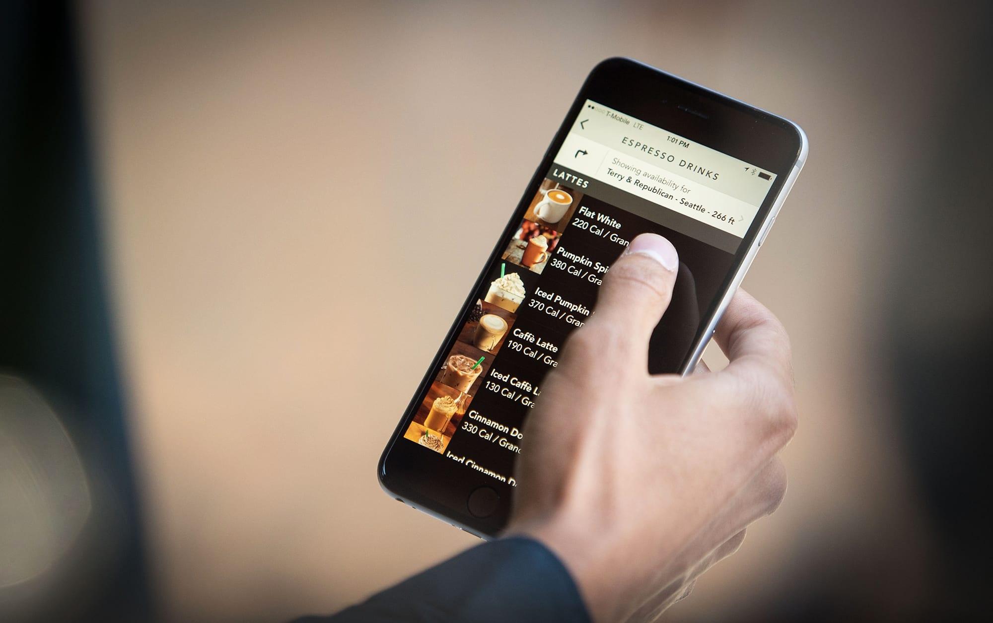Starbucks calorie count on an app. (Courtesy of Starbucks)