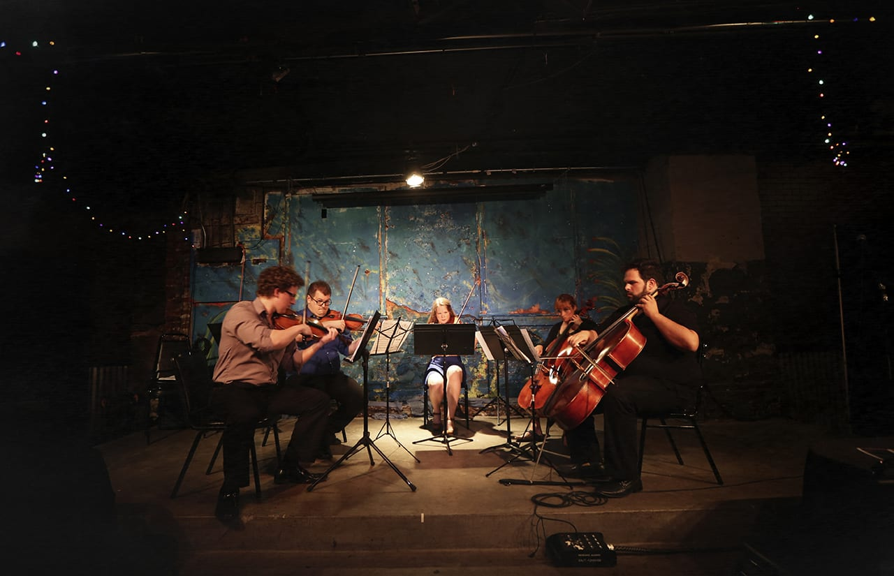 Classical music group performs.