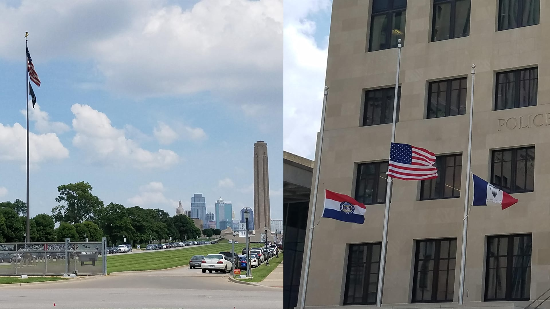 Flags in various positions