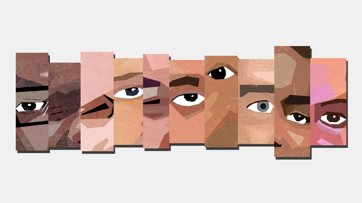 graphic rendering of parts of faces