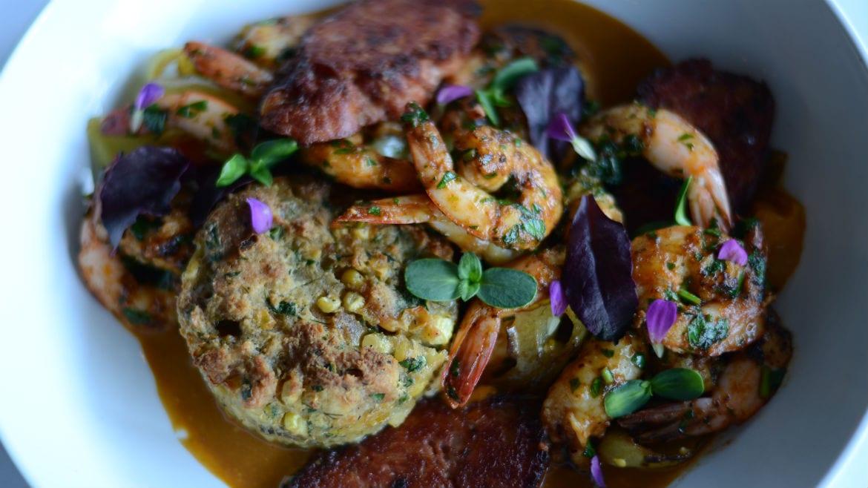 A shrimp dish.