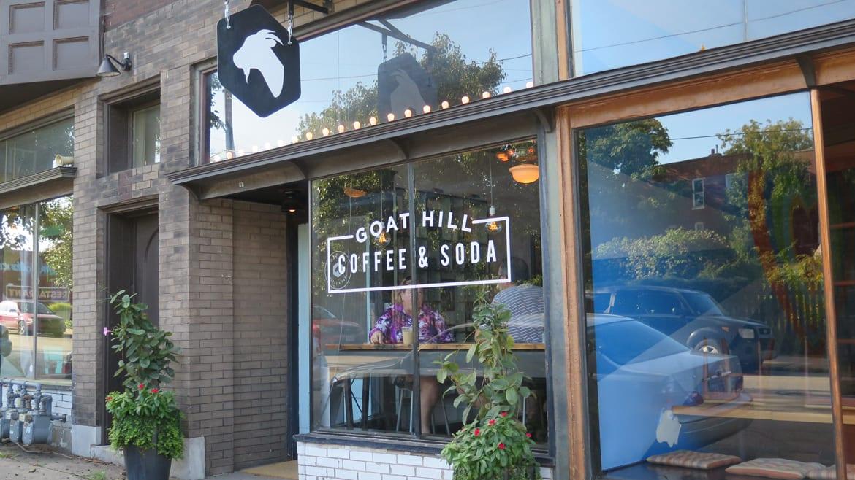 Exterior shot of a coffee shop