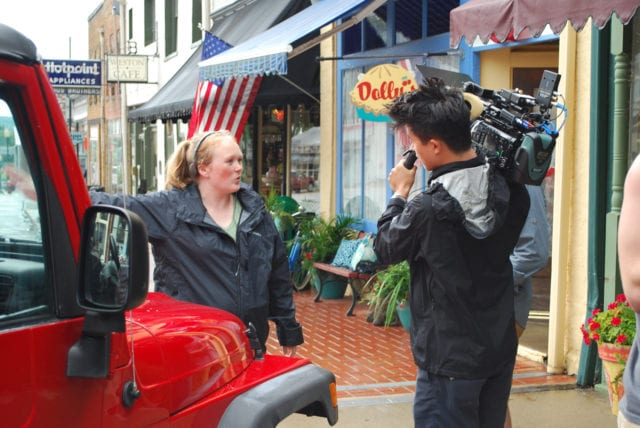 Director Morgan Dameron and camera operator Dan Chen shoot outside Dolly's, a diner fashioned in Kansas City for Dameron's upcoming film,