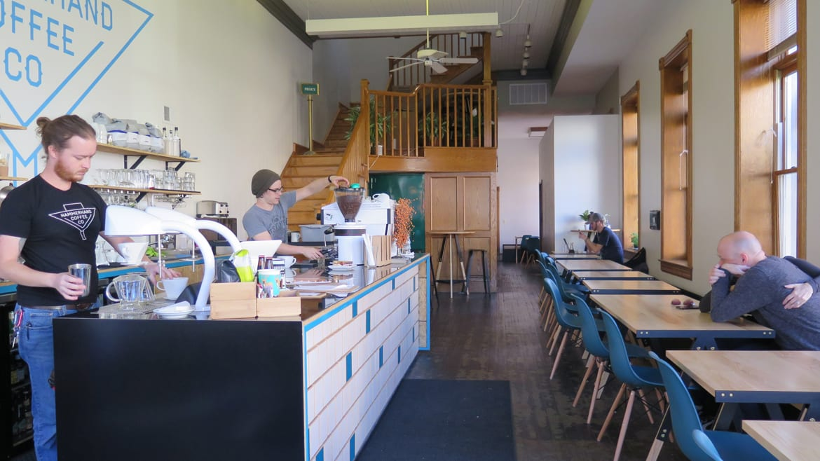 The interior of Hammerhand Coffee