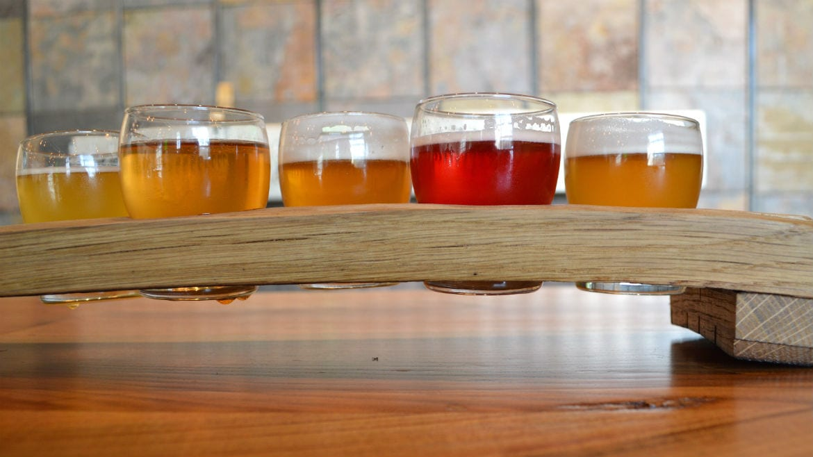 Crane Brewing's beer flights