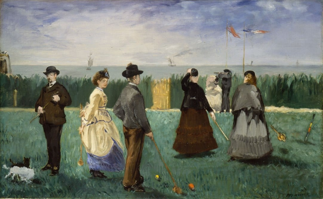 A painting by Manet of a croquet match.