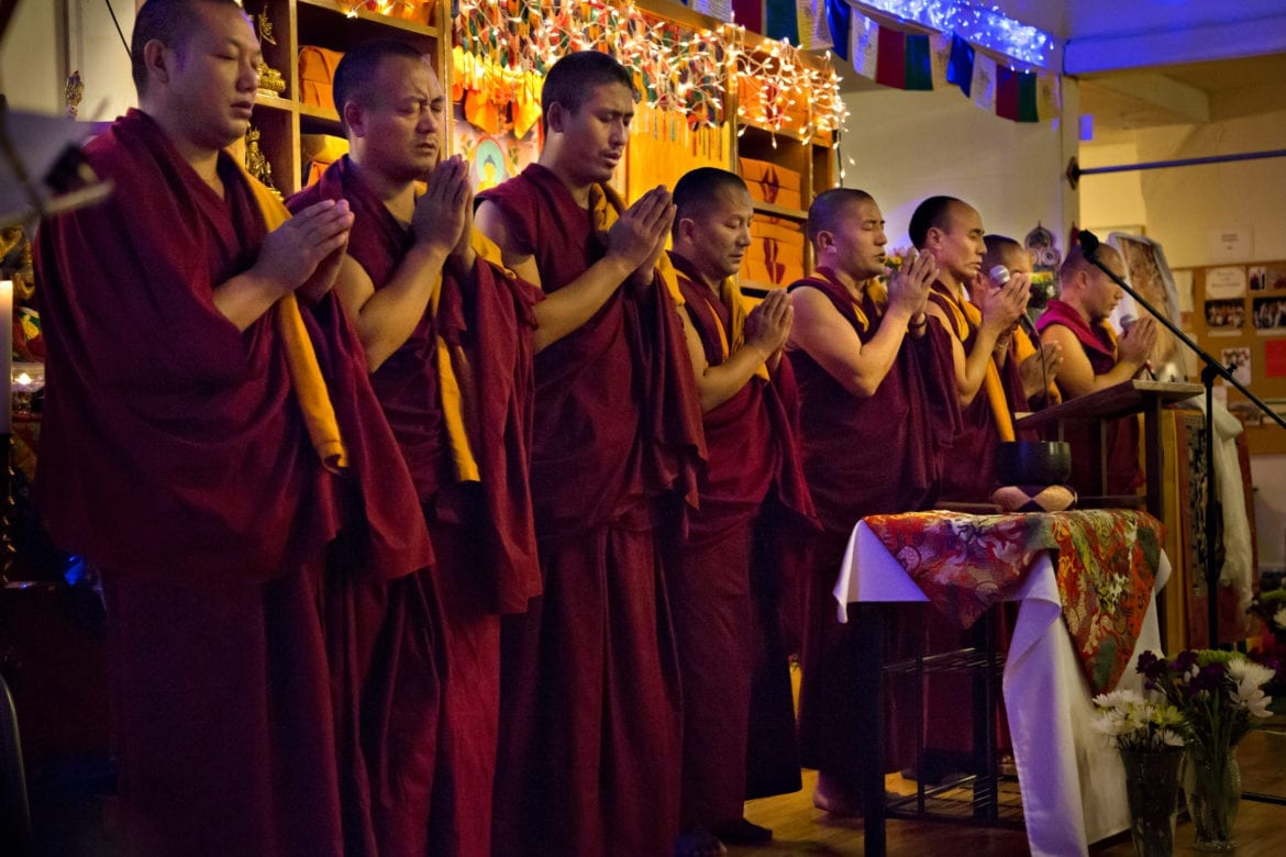 Drepung Gomang Monks chant a benediction prayer.