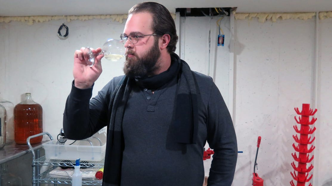 Daniel Bauer samples a mead