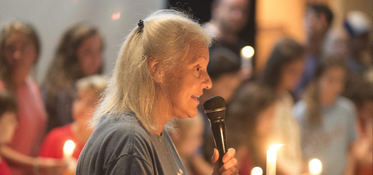 Jill Maidhoff speaking at vigil
