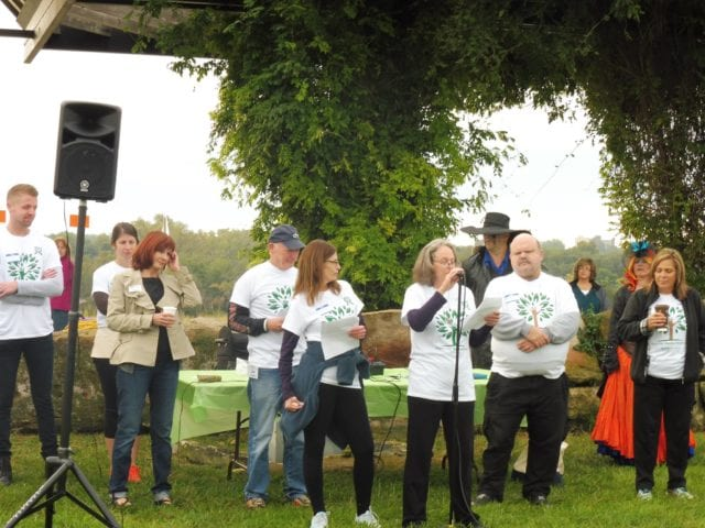 Heidi Custin addresses at the 5k walk/run