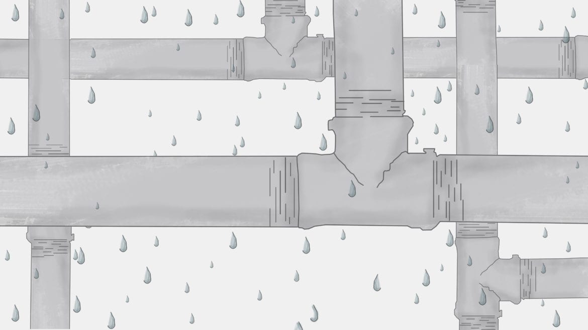 An illustration of a leaky pipe system
