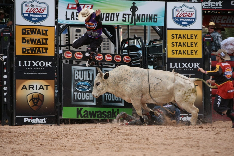 A man being thrown off a bull.