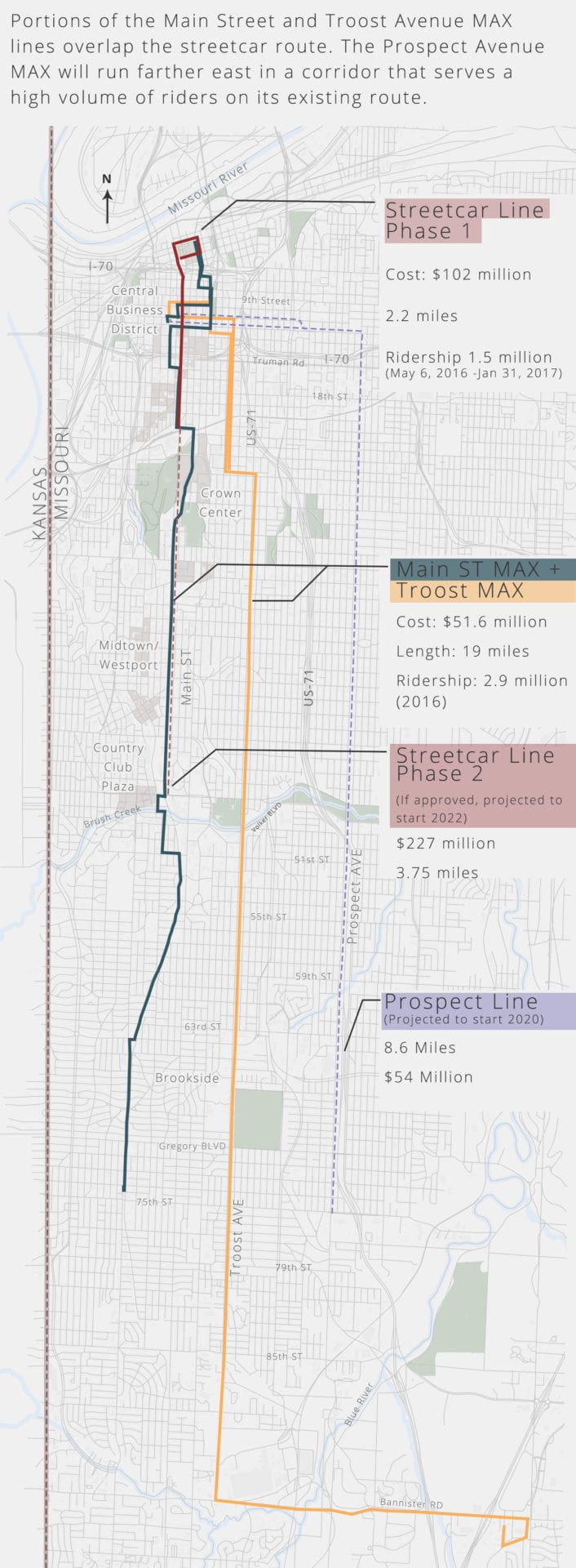 A map of bus and streetcar routes.