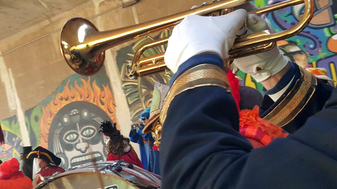 A trumpet in a parade