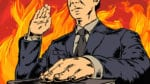 illustration of a man with hand on bible, surrounded by flames