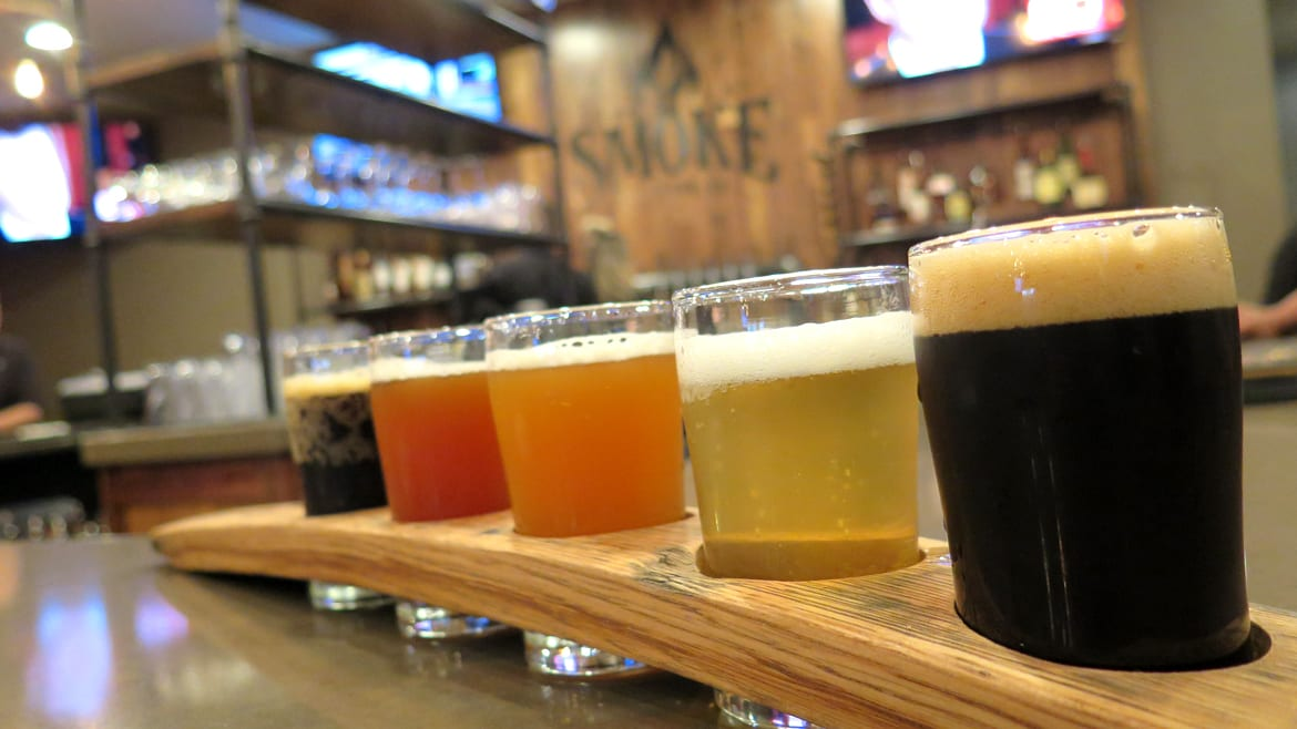 A flight of beers at Smoke Brewing