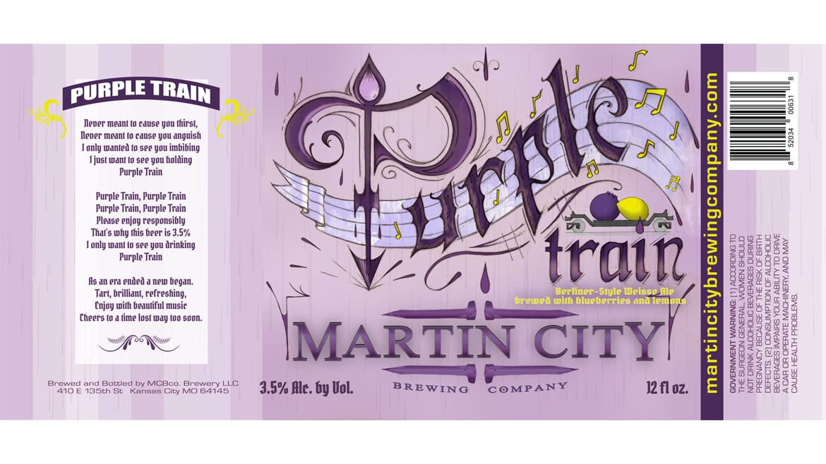 Purple Train label from Martin City Brewing Company is hand-drawn