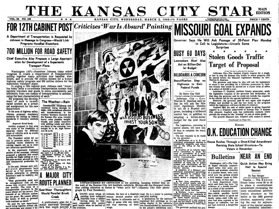 Front page of The Kansas City Star in 1066