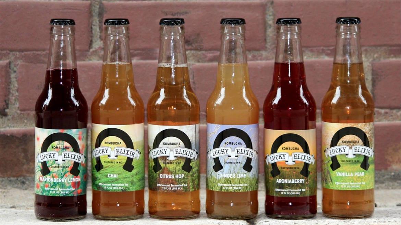 bottles of Lucky Elixir kombucha