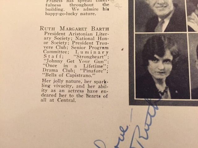 Ruth Barth in the 1930 yearbook from Central High School in Kansas City.
