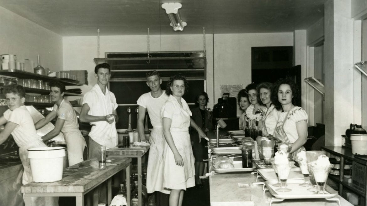 The kitchen staff at an Allen's Drive-In.