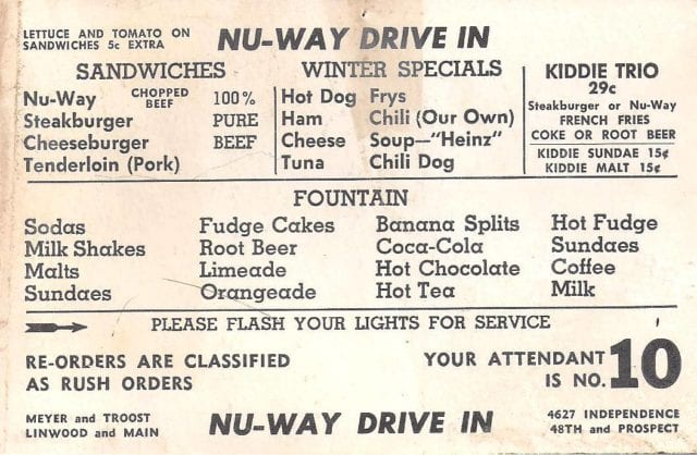 menu at the Nu-Way Drive-In