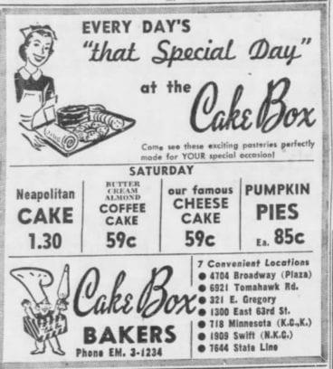 Cake Box bakery ad