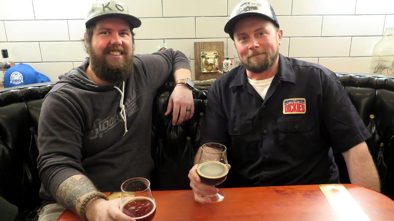 Stockyards Brewing owner Greg Bland (left) and brewer Micah Weichert