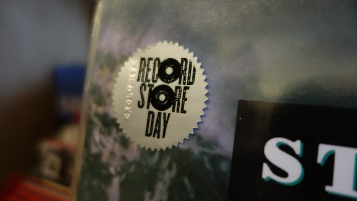 Exclusive sticker that says Record Store Day