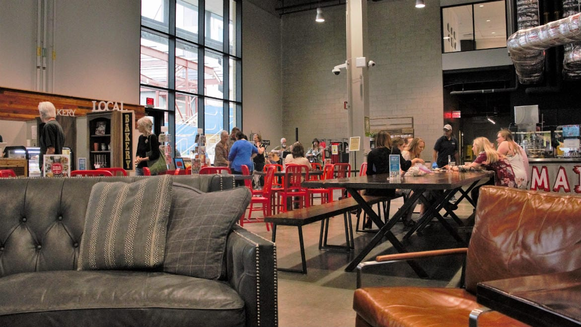 The Lenexa Public Market has different seating areas